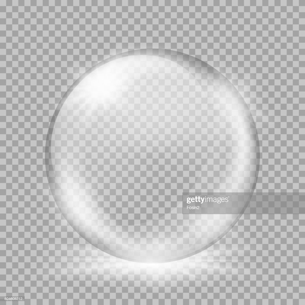 Snow globe. Big white transparent glass sphere with glares and
