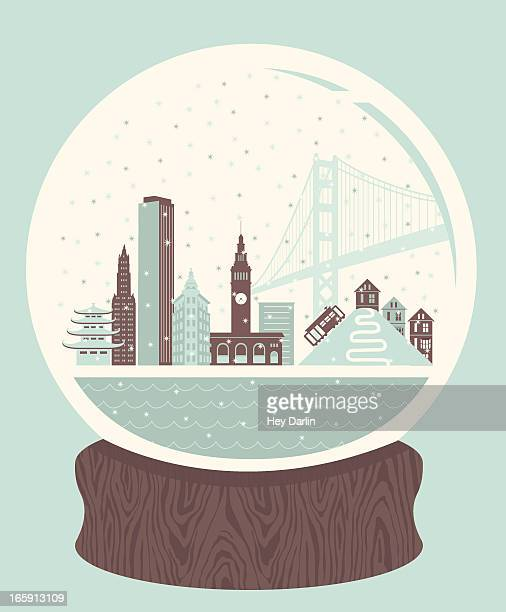 snow globe san francisco - san francisco california stock illustrations