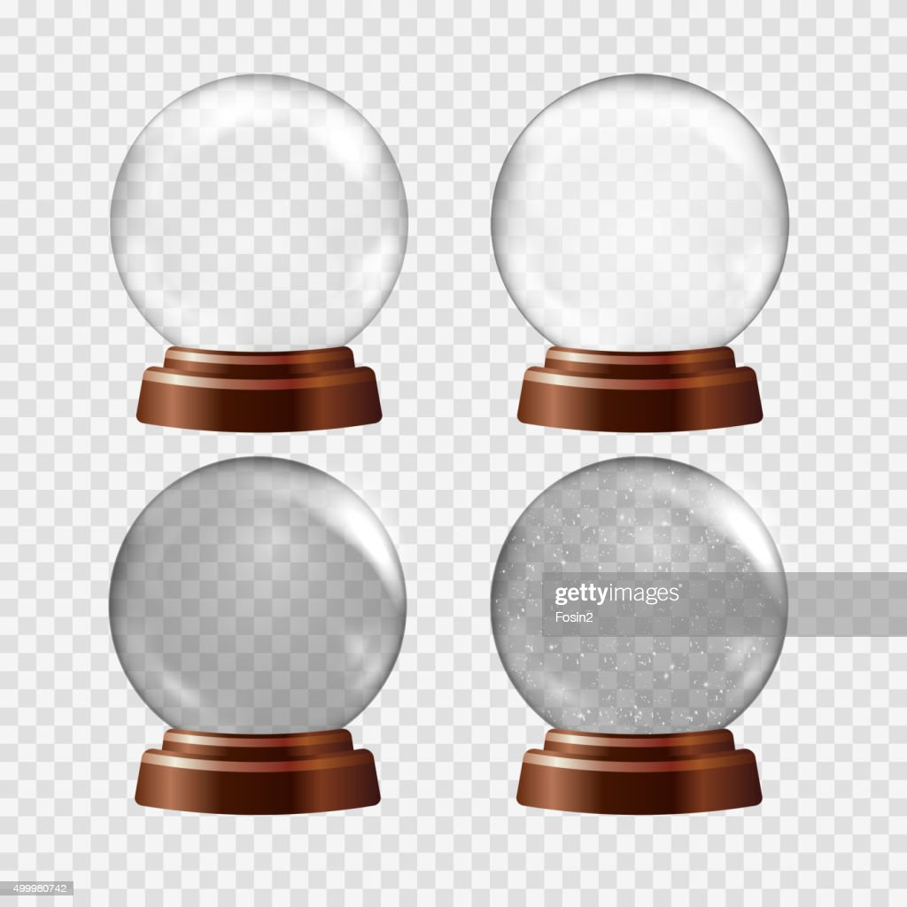 Snow globe set. Big white transparent glass sphere on a