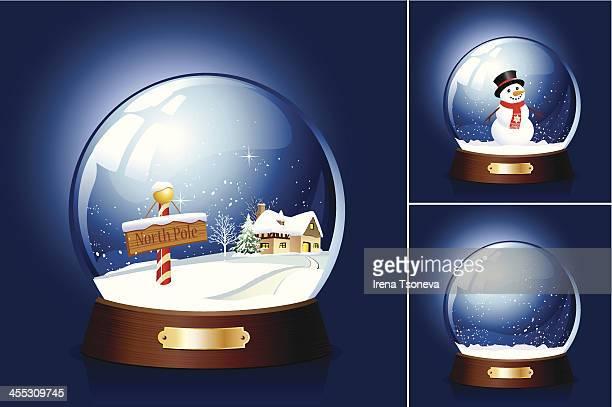 snow globe - snowman stock illustrations