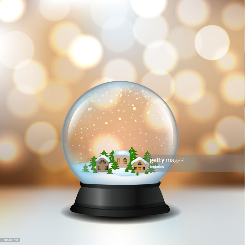 Snow Globe With House And Bokeh
