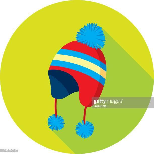 snow hat icon flat - knit hat stock illustrations