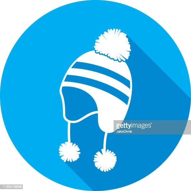 snow hat icon silhouette - warm clothing stock illustrations
