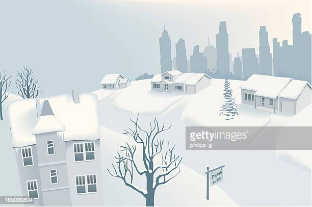 Snow in Suburban Neighbourhood with Silhouette of Downtown