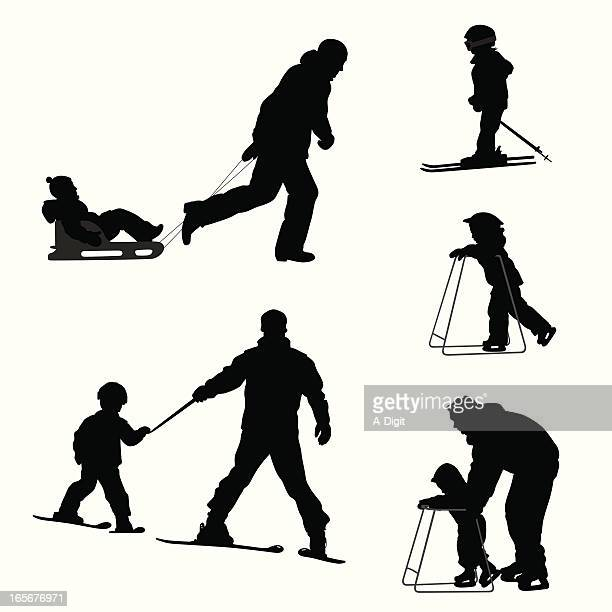 snow kids vector silhouette - tobogganing stock illustrations, clip art, cartoons, & icons