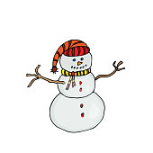 Snow Man. Vector colored illustration on white background