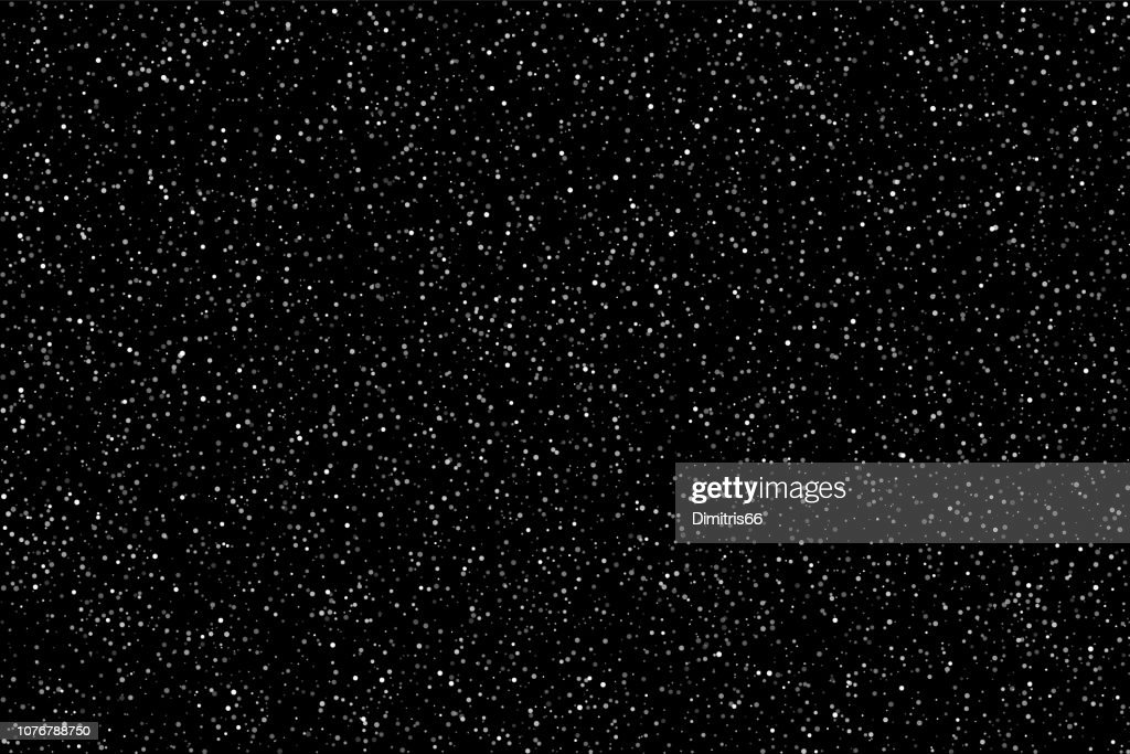 Snow or stars on night sky background. Flat vector background : stock illustration