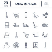 Snow removal flat line icons. Ice relocation service signs. Cold weather equipment - snow thrower, blower, truck, front loader, snow shovel. Vector illustration, industrial cleaning symbols