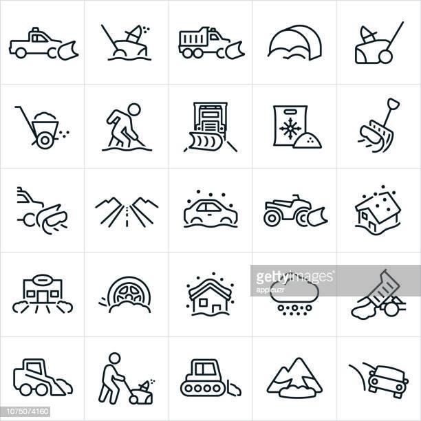 snow removal icons - winterdienst stock illustrations