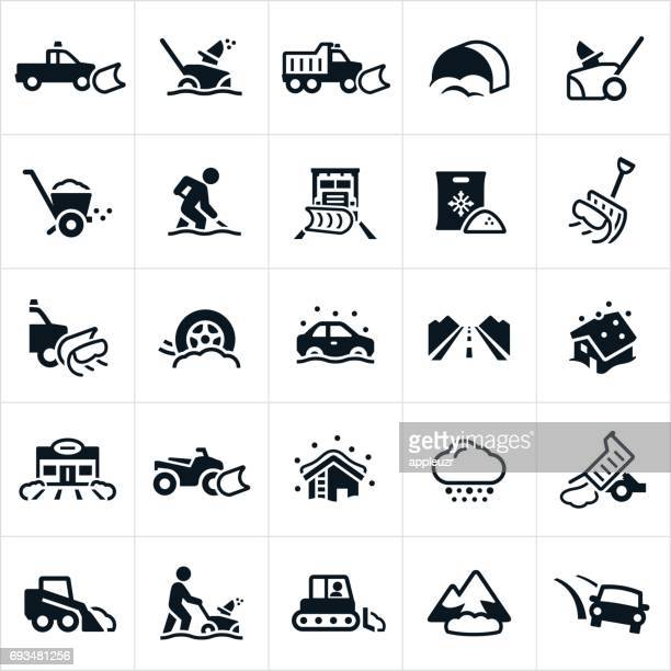 snow removal icons - blizzard stock illustrations