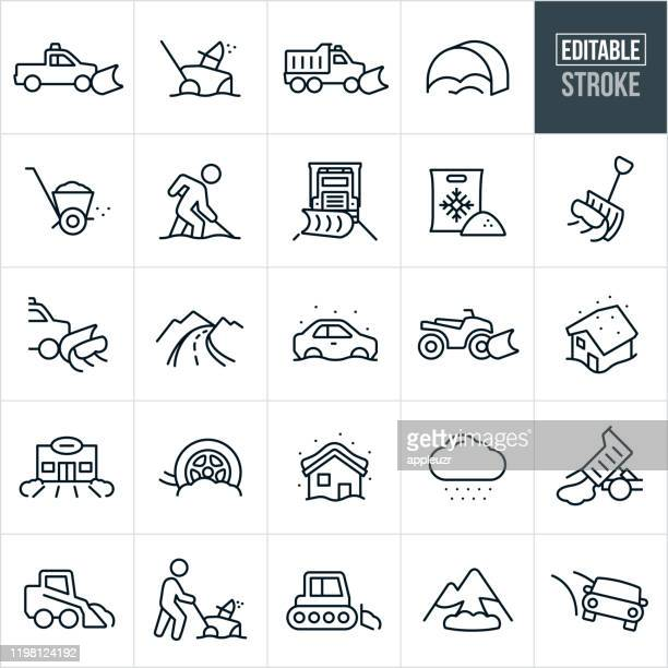 snow removal thin line icons - editable stroke - road salt stock illustrations