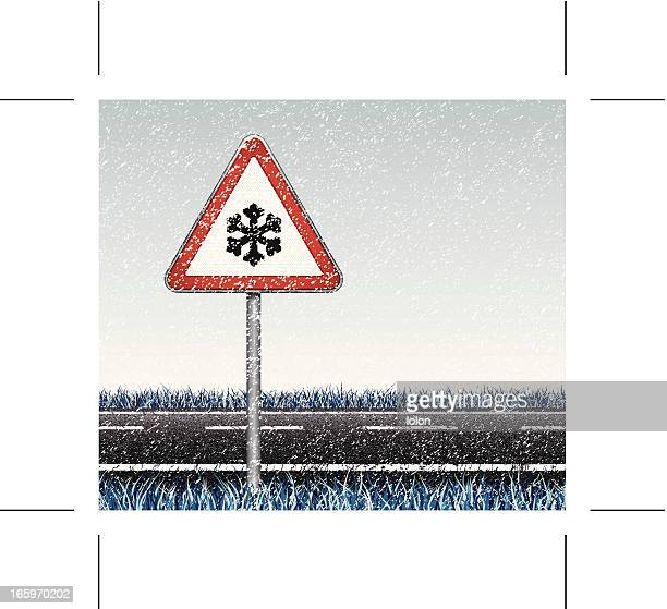 snow, road and traffic sign