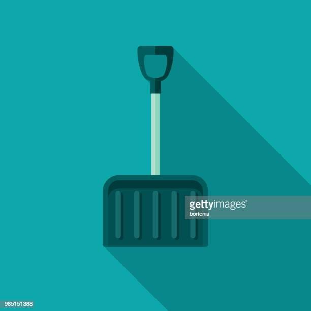 snow shovel flat design winter icon with side shadow - winterdienst stock illustrations