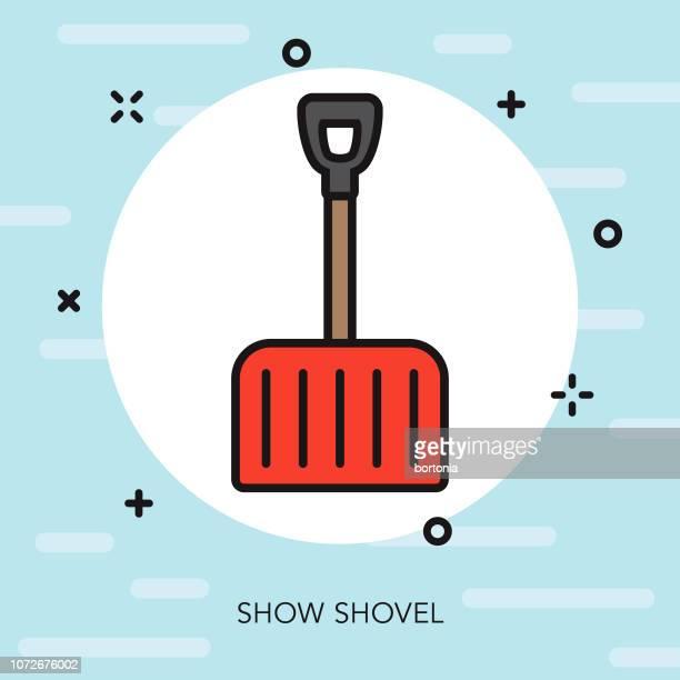 snow shovel thin line winter icon - snow shovel stock illustrations