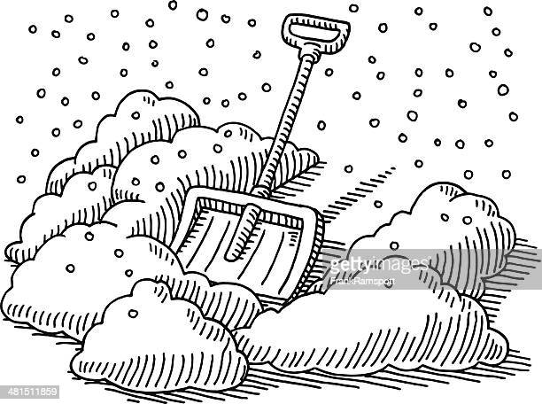 snow shovel winter drawing - winterdienst stock illustrations
