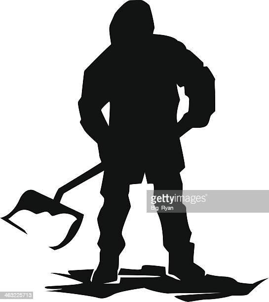 snow shoveler - winterdienst stock illustrations