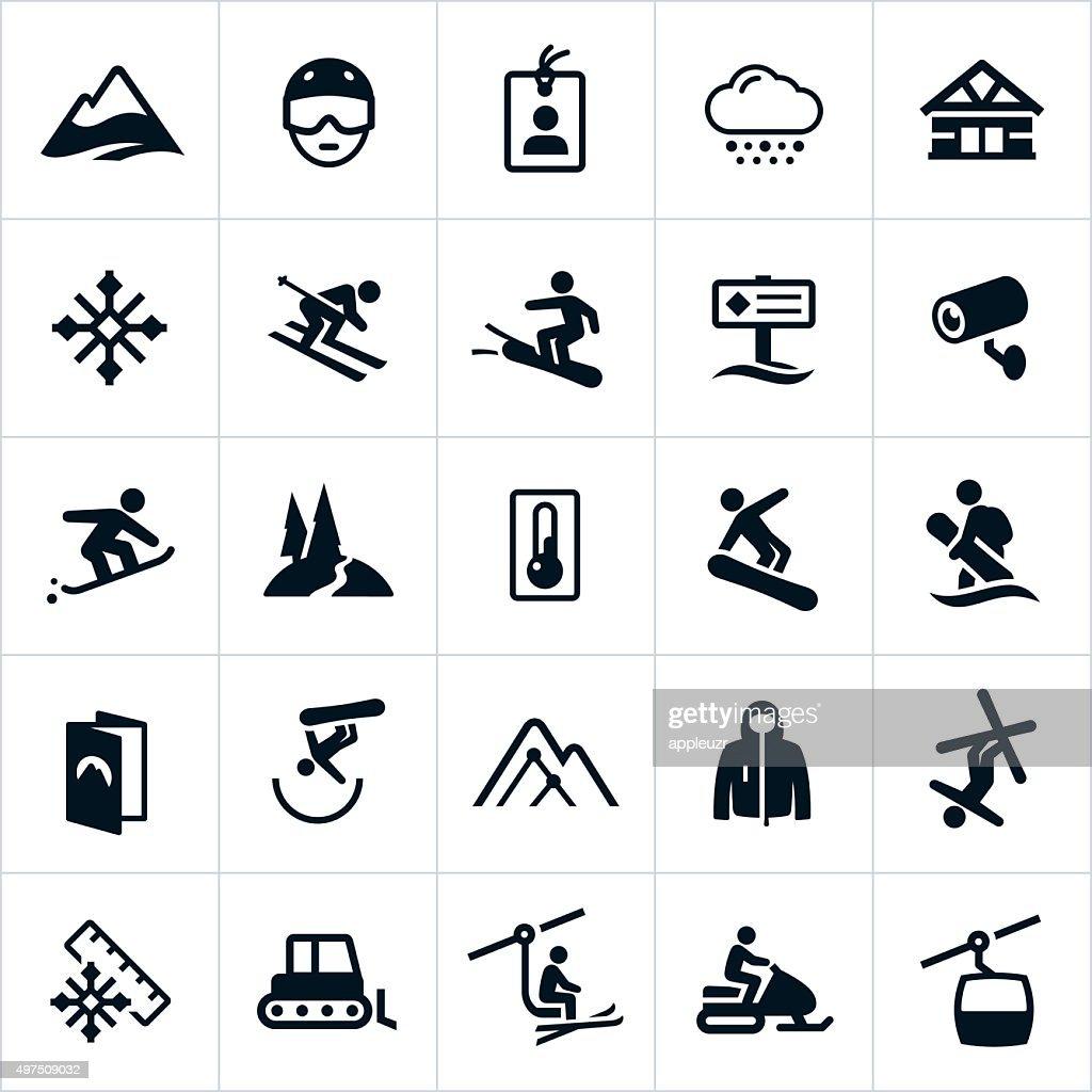 snow ski and snowboard icons vector art