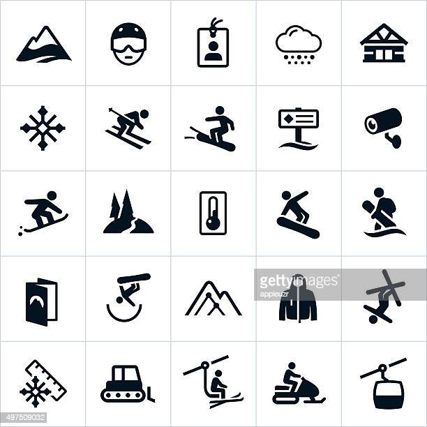snow ski and snowboard icons - blizzard stock illustrations, clip art, cartoons, & icons