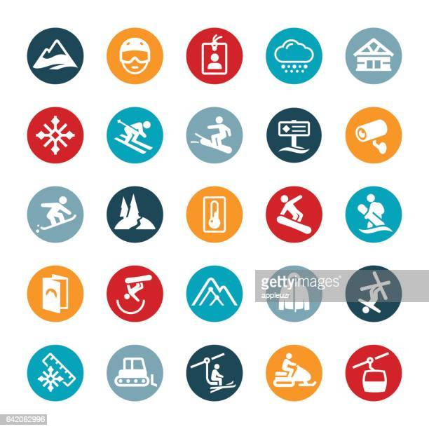 Snow Skiing and Snowboarding Icons