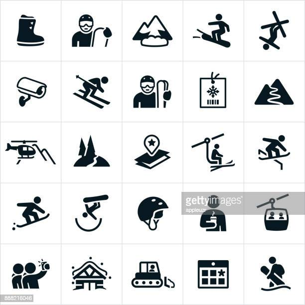 snow skiing icons - winter sport stock illustrations