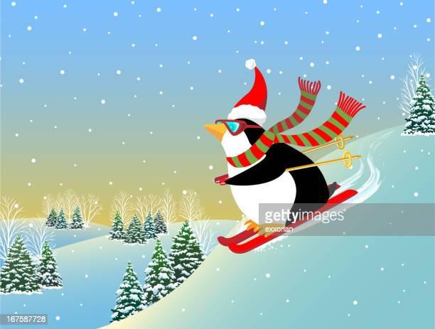 illustrations, cliparts, dessins animés et icônes de manchot de ski - ski alpin