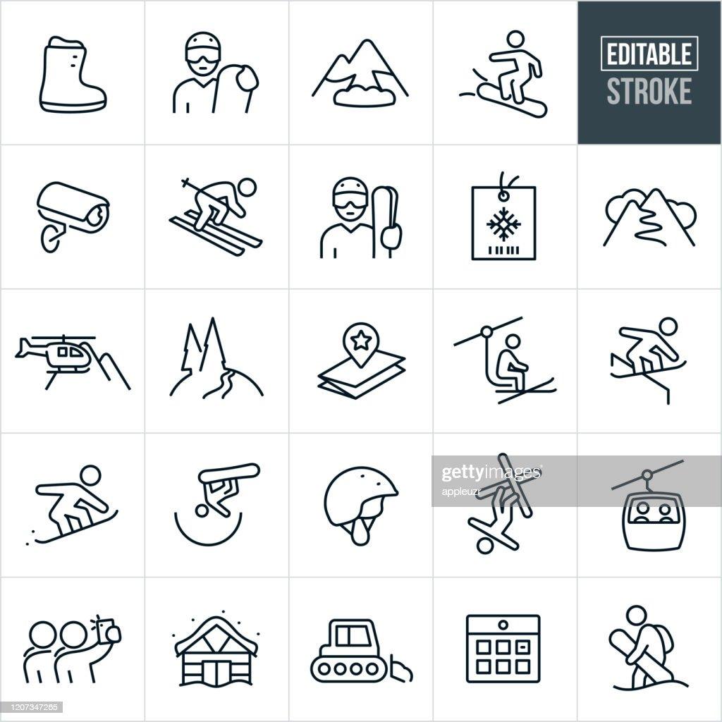 Iconos de línea fina de esquí de nieve - Trazo editable : Ilustración de stock
