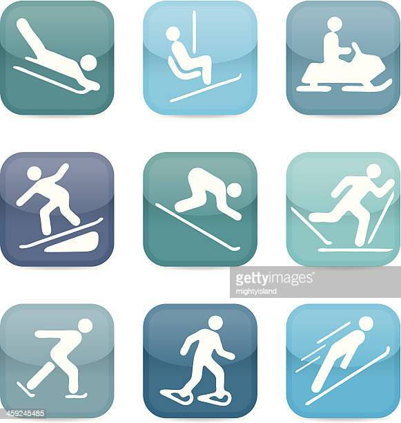 snow sport icons - ice skating stock illustrations, clip art, cartoons, & icons