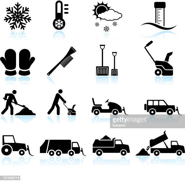 snow storm and removal black & white vector icon set - winterdienst stock illustrations