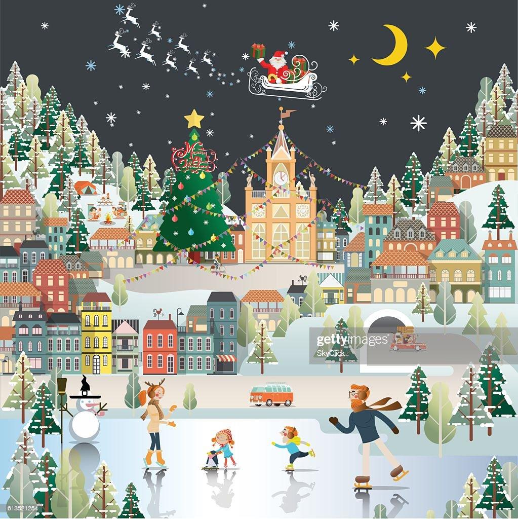 Snow Village Landscape night scene wallpaper, santa claus is com