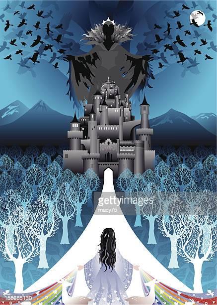 Snow White kehrt um das Böse Schloss mit queen-Size-Bett
