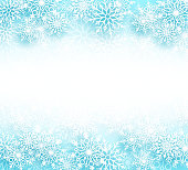 Snow winter vector background with different shapes of snowflakes