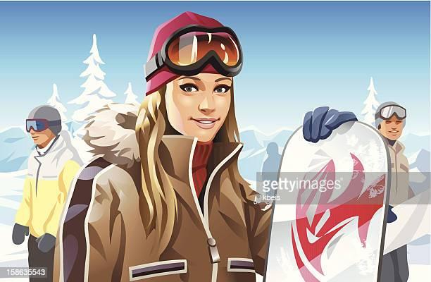 snowboard girl - ski goggles stock illustrations, clip art, cartoons, & icons