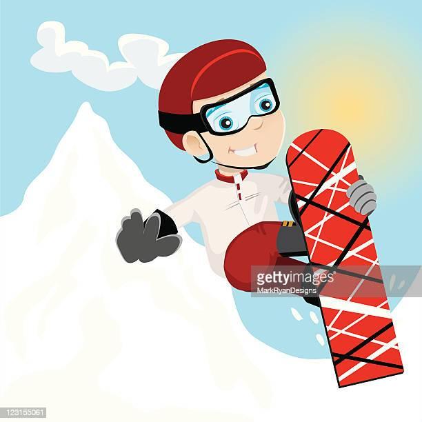 snowboard kid - skidding stock illustrations, clip art, cartoons, & icons