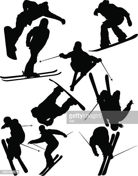 snowboarder jumping with snowboard & cheering - motorcycle helmet isolated stock illustrations, clip art, cartoons, & icons