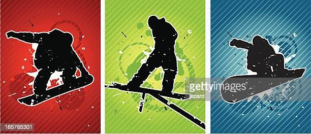ilustrações, clipart, desenhos animados e ícones de praticantes de fundo - esportes extremos