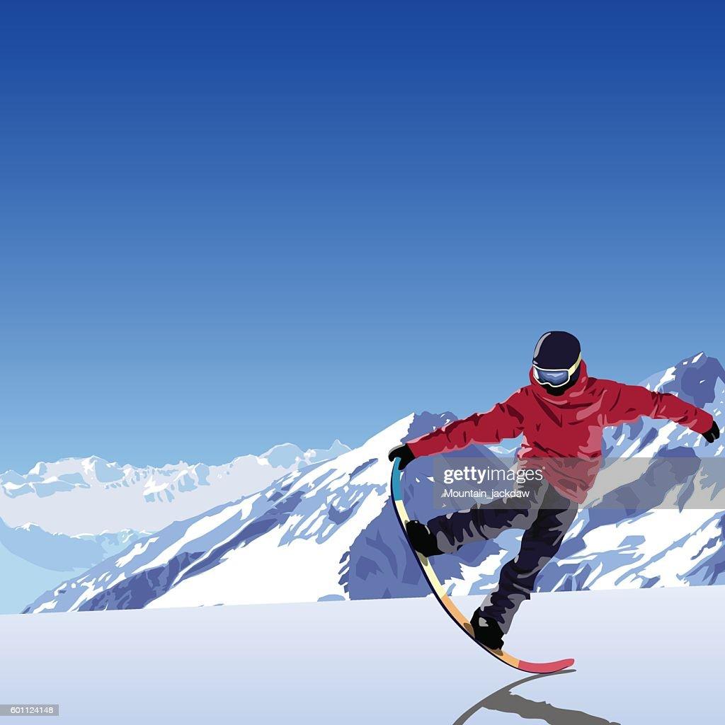 snowboarding theme illustration. Snowboarder makes trick tail block.