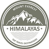 Snowbound mountain Himalayas - Everest label or stamp