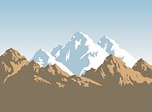 snowcapped mountains and brown rocks - background