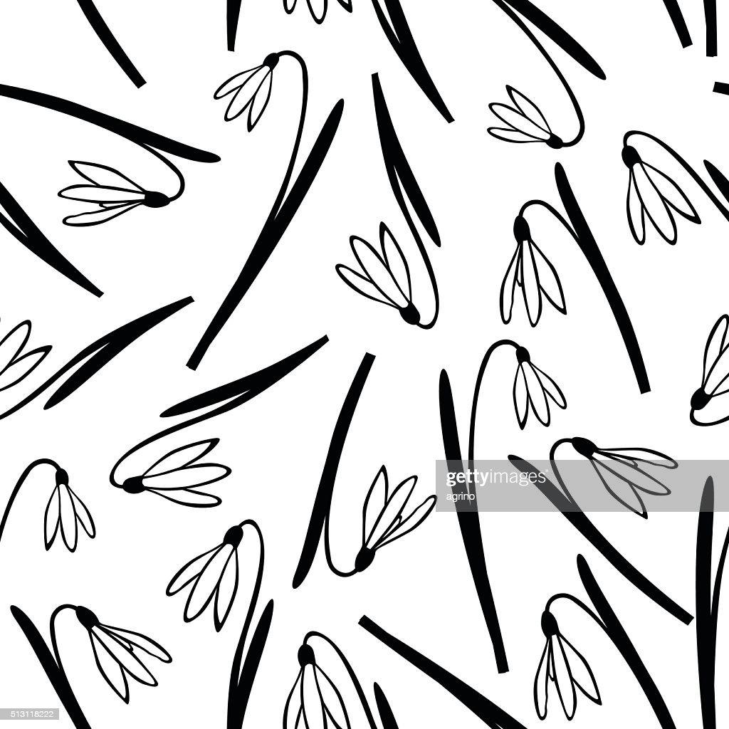 Snowdrop Spring Flower Pattern Seamless Vector Art
