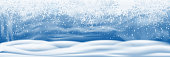 Snowfall and little snow with snow drifts isolated on transparent background. Sky clouds and snow winter - stock vector