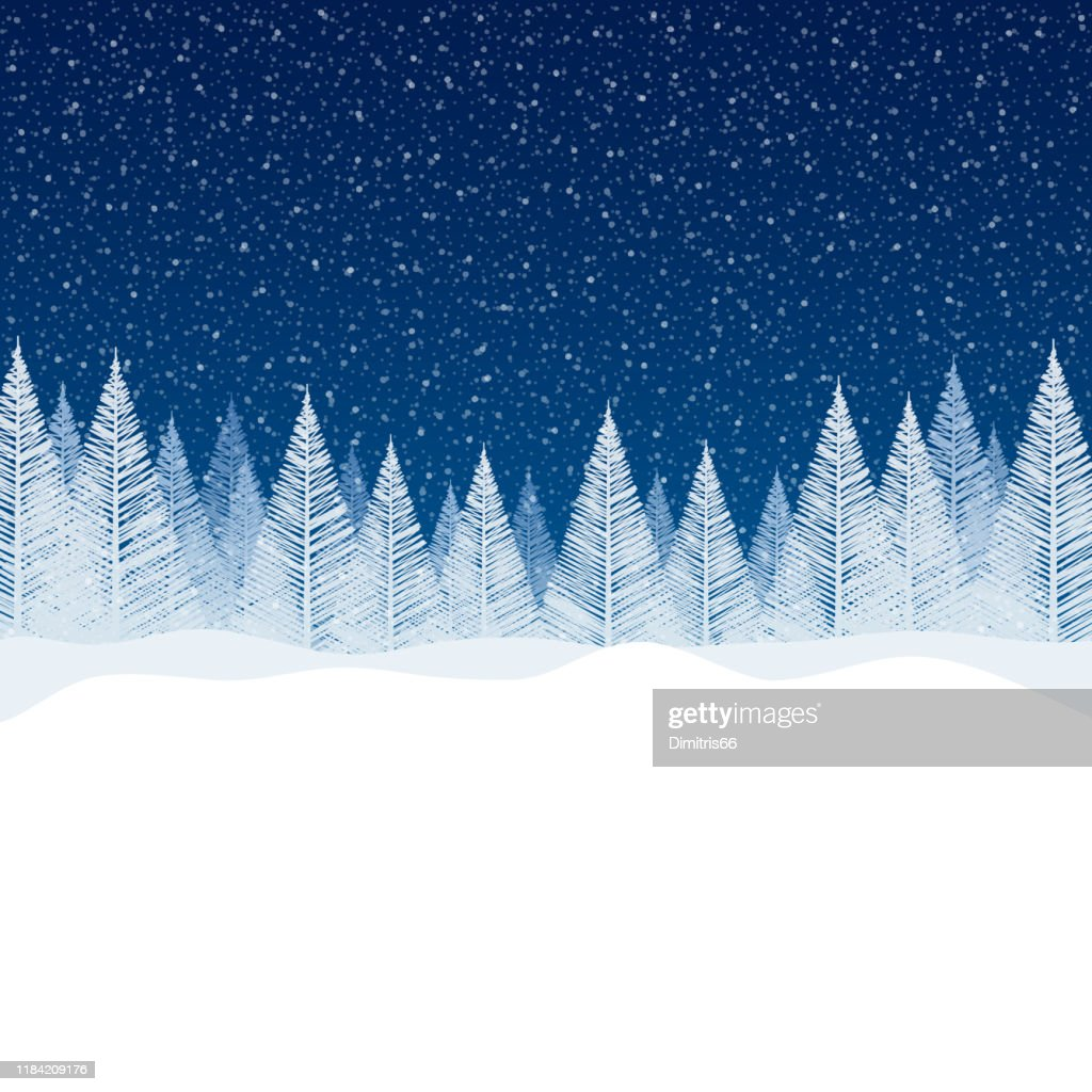 Snowfall - Tranquil Christmas scene with blank space for your message. : Stock Illustration
