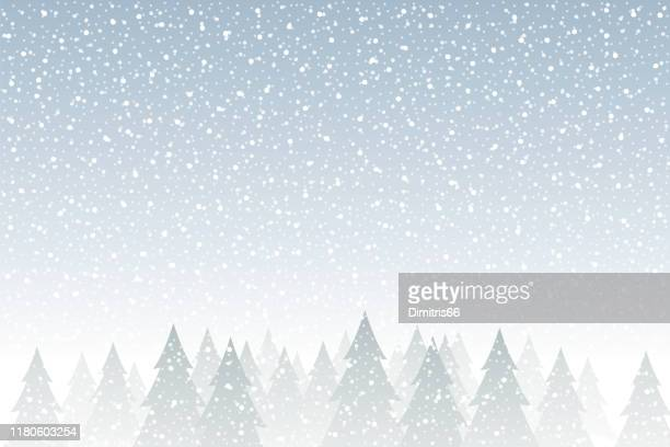 snowfall - tranquil christmas scene with falling snow and fir trees - winter stock illustrations
