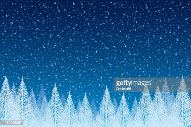 snowfall - tranquil christmas scene with falling snow and fir trees - non urban scene stock illustrations