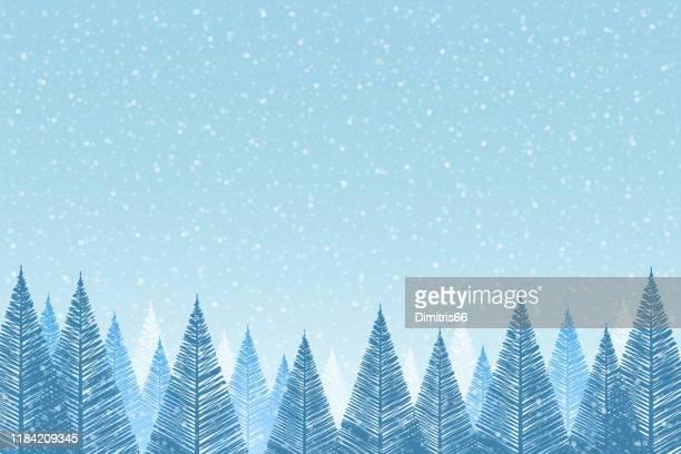 schneefall - ruhige weihnachtsszene mit fallendem schnee und tannenbäumen - türkis blau stock-grafiken, -clipart, -cartoons und -symbole