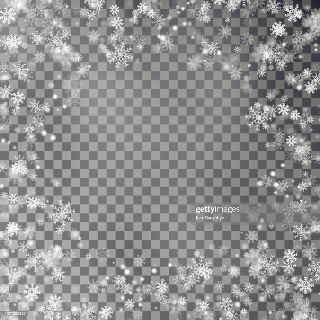 Snowflake border vector isolated on transparent background. Christmas falling snow frame. Winter xma