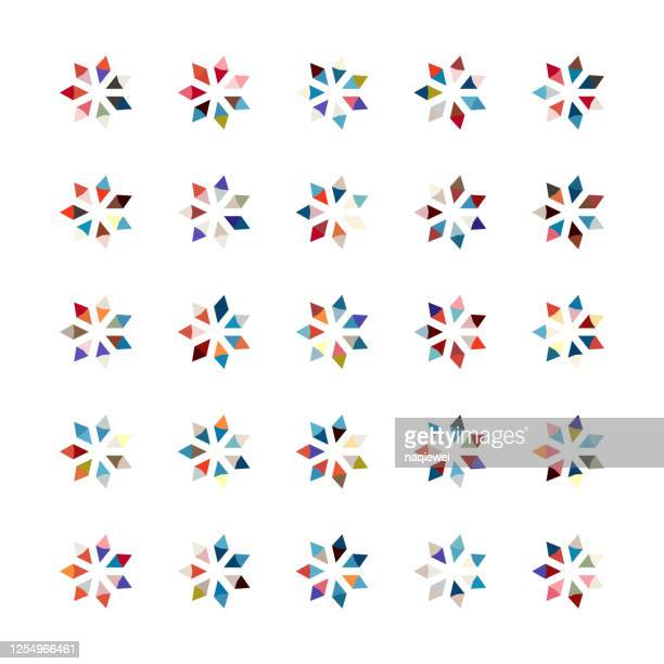 snowflake buttons pattern for design - flower head stock illustrations
