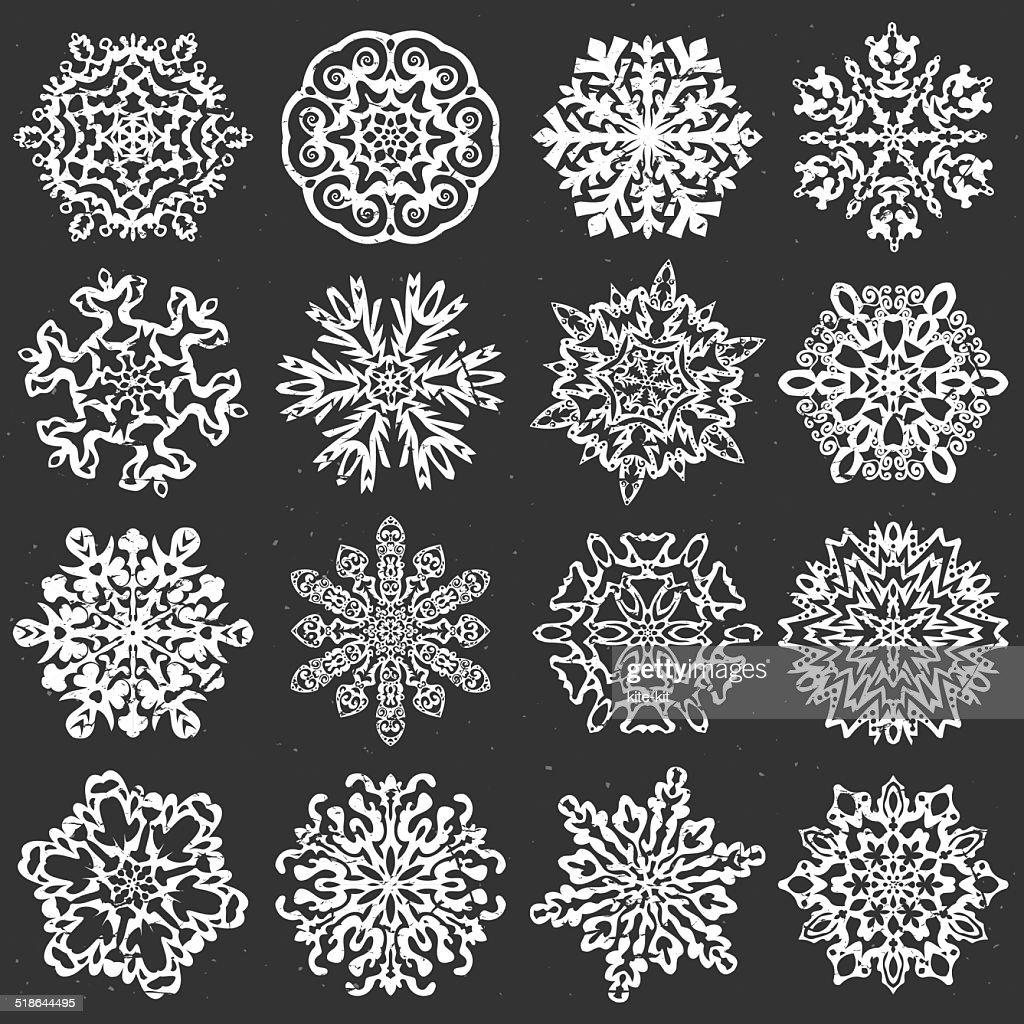 Snowflake chalk vectors.