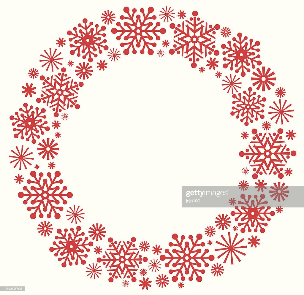 Christmas Wreath Silhouette Vector.Snowflake Christmas Wreath In Silhouette High Res Vector