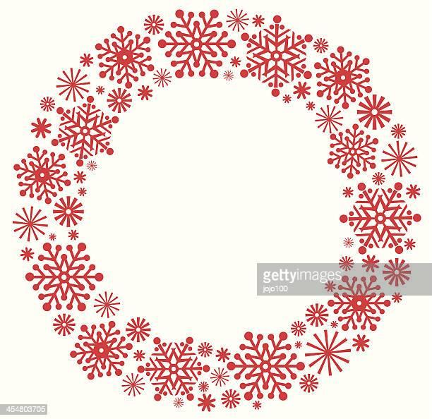 snowflake christmas wreath in silhouette - laurel wreath stock illustrations