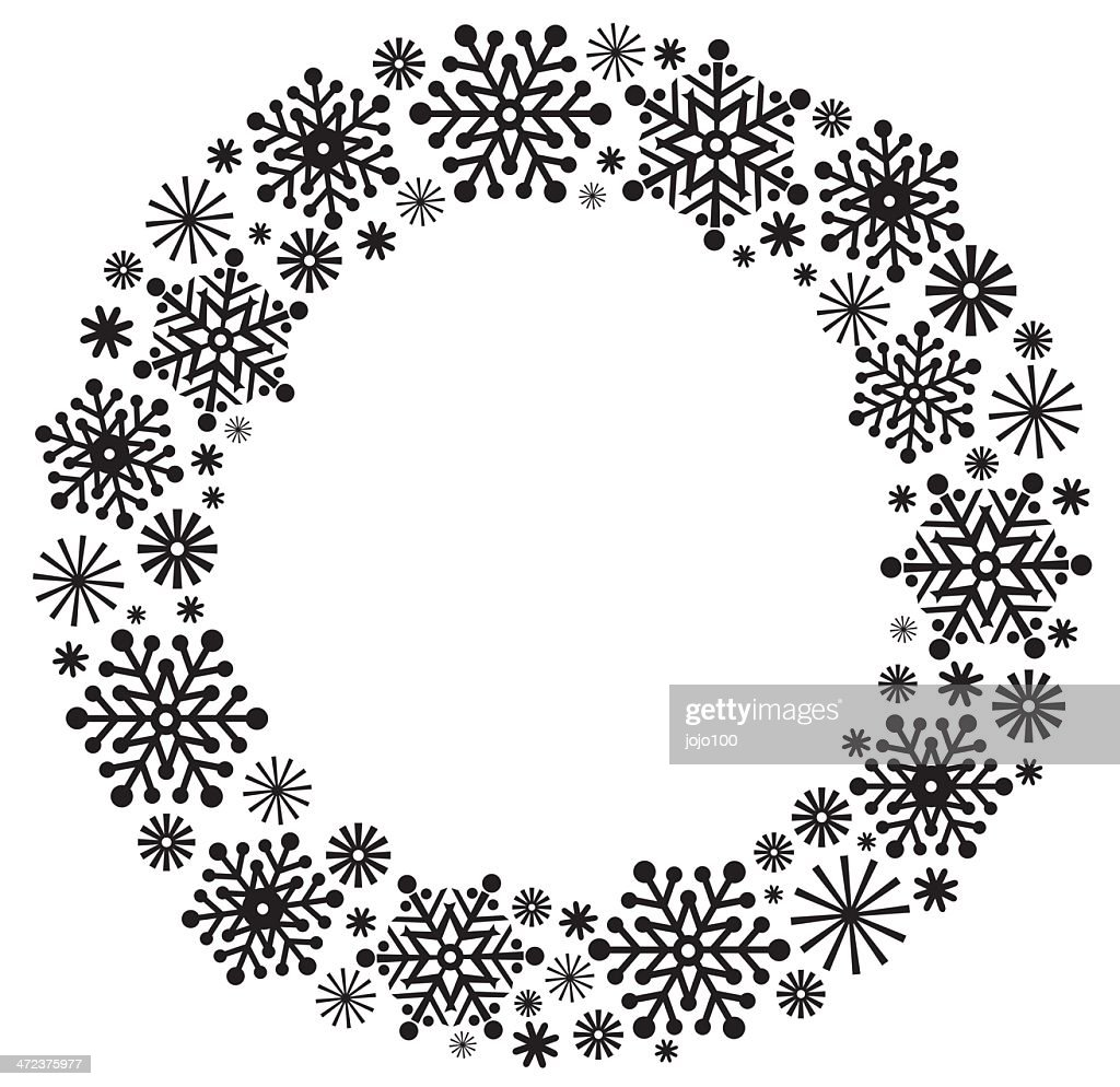 Christmas Wreath Silhouette.Snowflake Christmas Wreath In Silhouette Stock Illustration